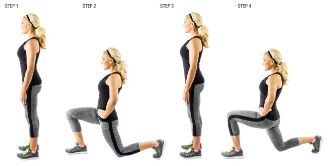 Cellulite exercises walking-lunges