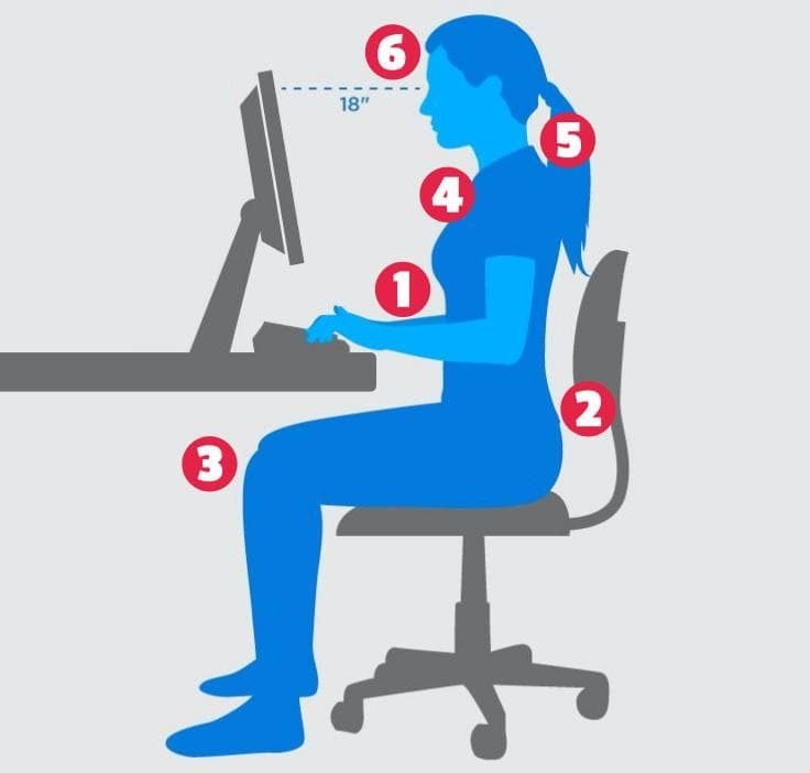 Correct Position (Correct Posture) At The Office Desk-crop