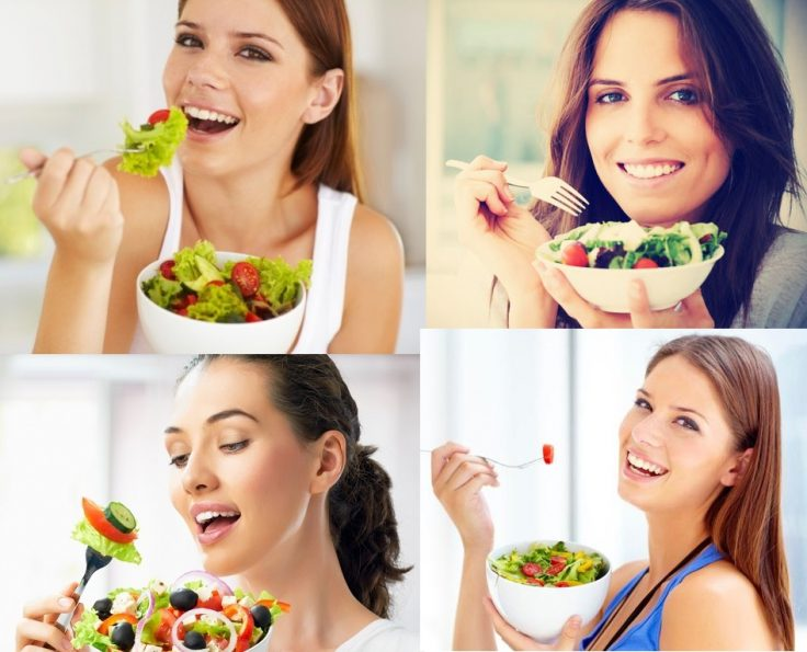 Women eating diet lunch