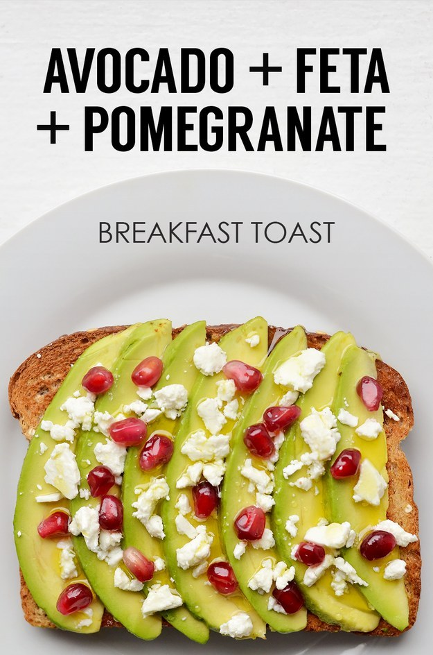 1. Sliced Avocado + Crumbled Feta + Pomegranates + Olive Oil