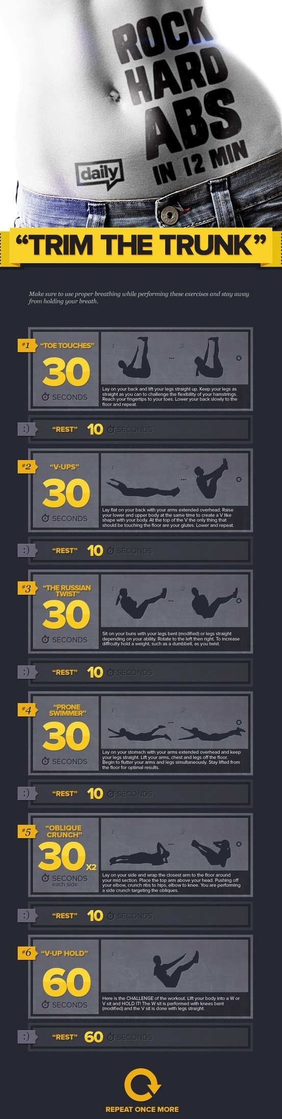 12 min of stomach exercises