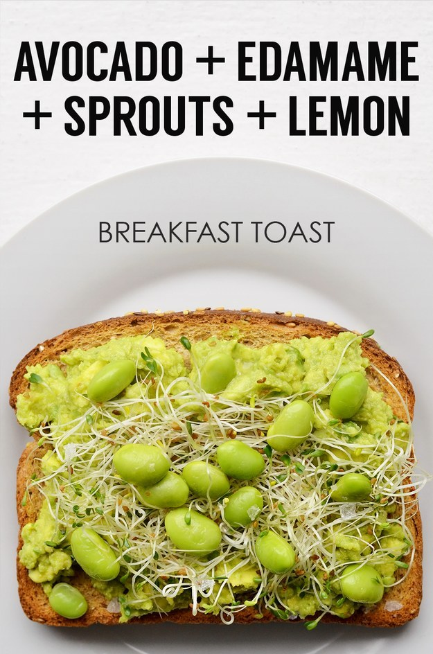 12. Mashed Avocado + Shelled Edamame + Sprouts + Lemon Juice