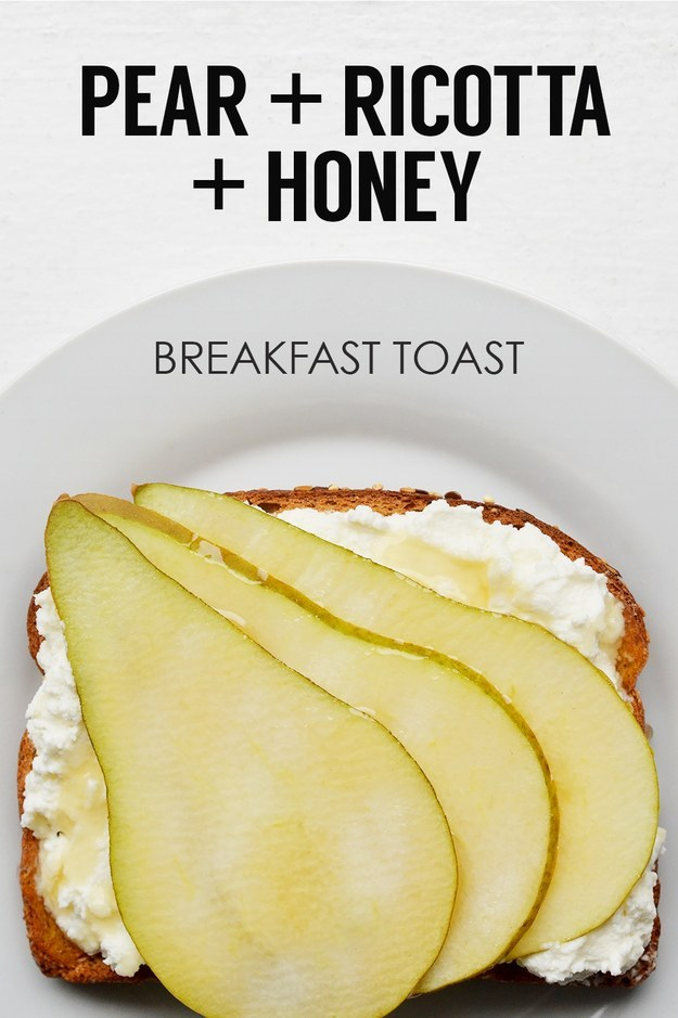 13. Sliced Pear + Ricotta Cheese + Honey