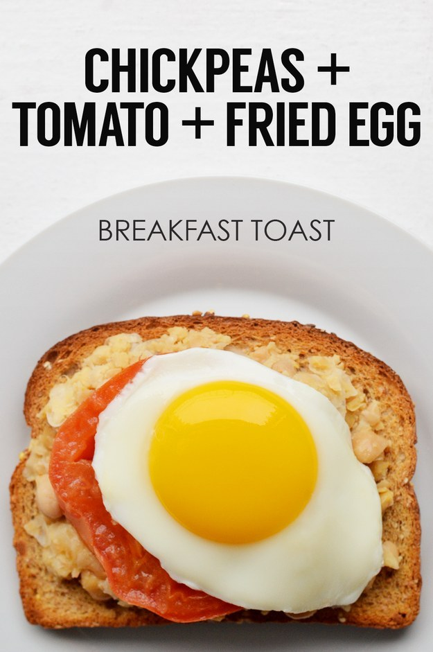 15. Mashed Chickpeas + Tomato Slice + Fried Egg