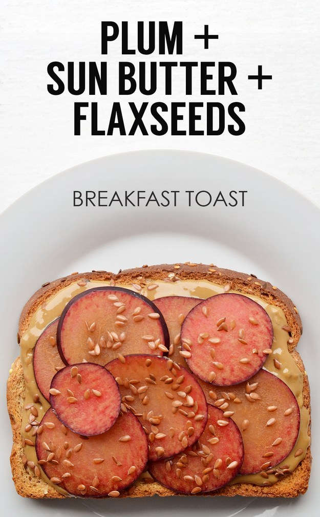 17. Sliced Plums + Sunflower Seed Butter + Flaxseed