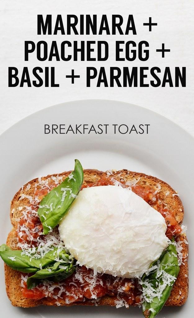 19. Marinara Sauce + Poached Egg + Parmesan + Basil