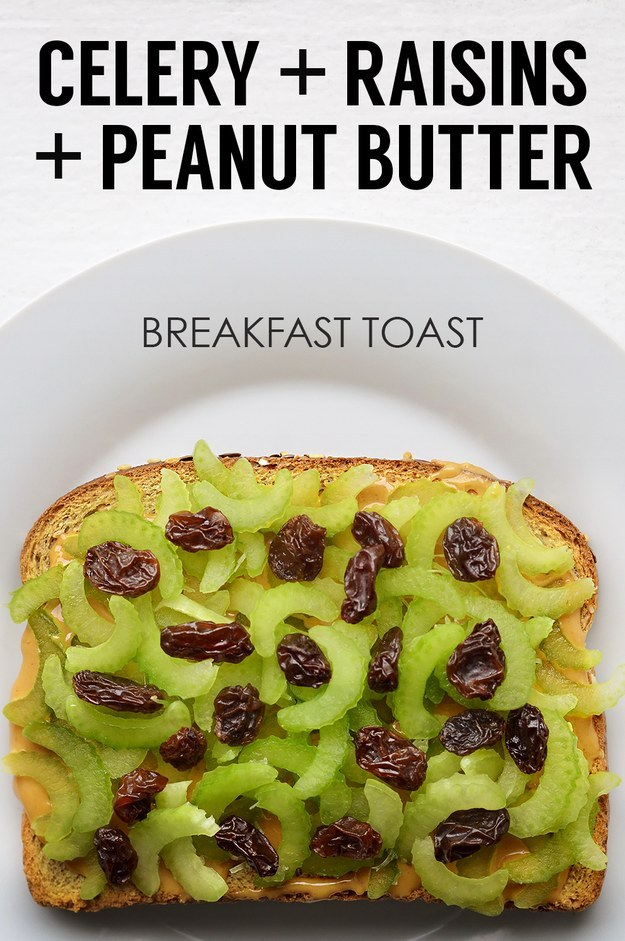 5. Thinly Sliced Celery + Raisins + Peanut Butter