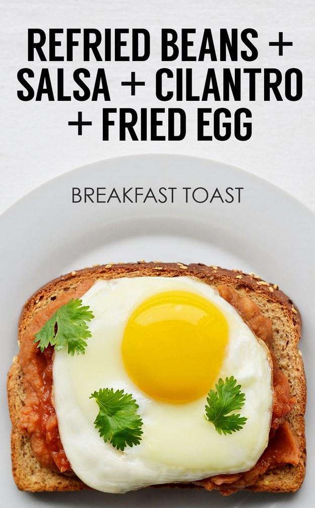 6. Refried Beans + Salsa + Cilantro + Fried Egg