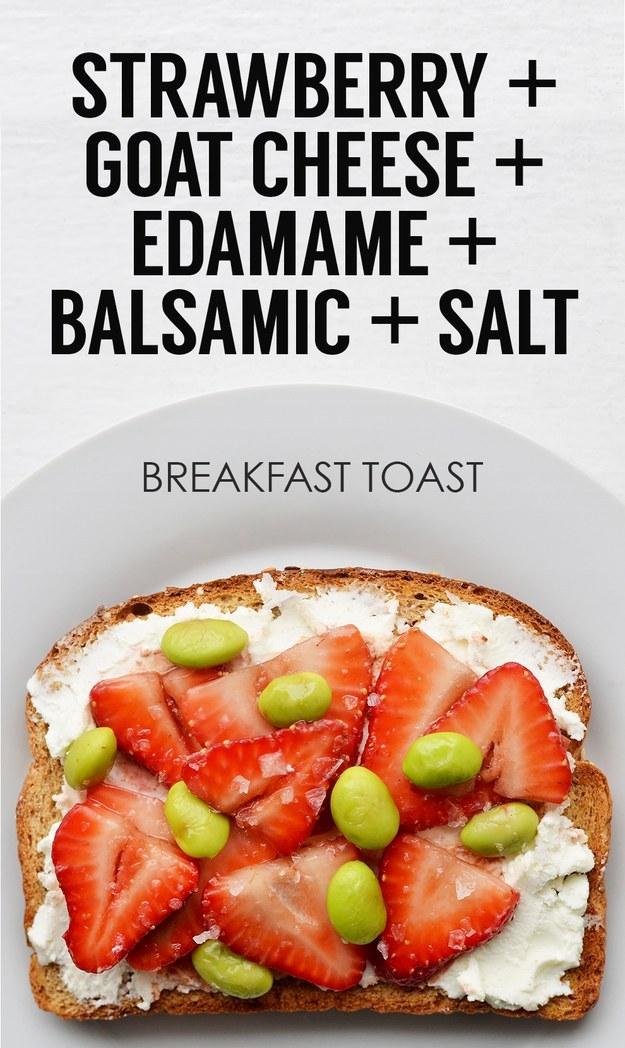7. Goat Cheese + Sliced Strawberries + Shelled Edamame + Balsamic Vinegar + Sea Salt