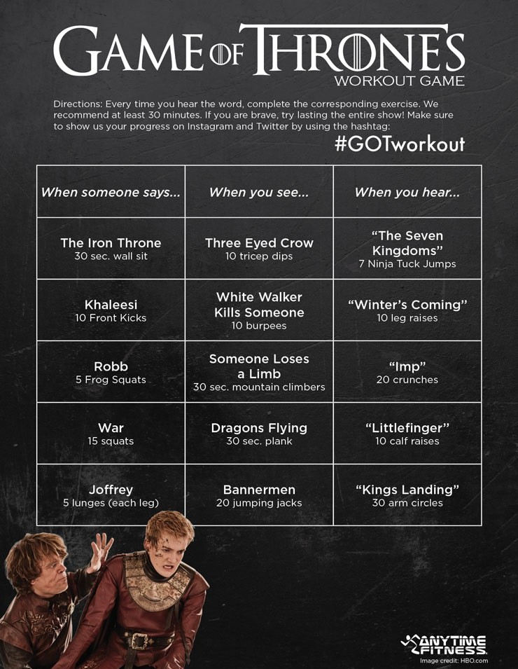 Game of Thrones workout game