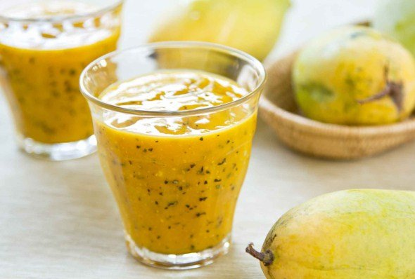 Mango and passion fruit smoothie