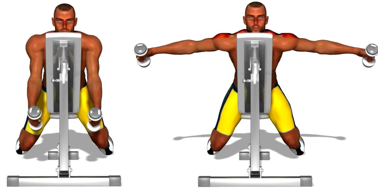 Lateral raises on incline bench