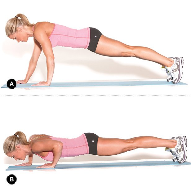 Staggered pushup to get rid of armpit fat