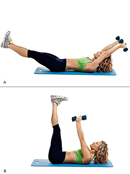 Crunches with leg extensions