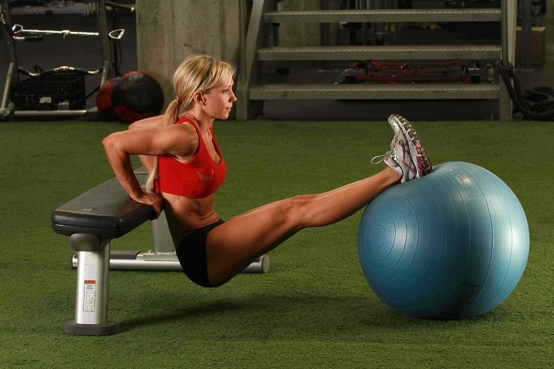 Tricep Dips With Swiss Ball