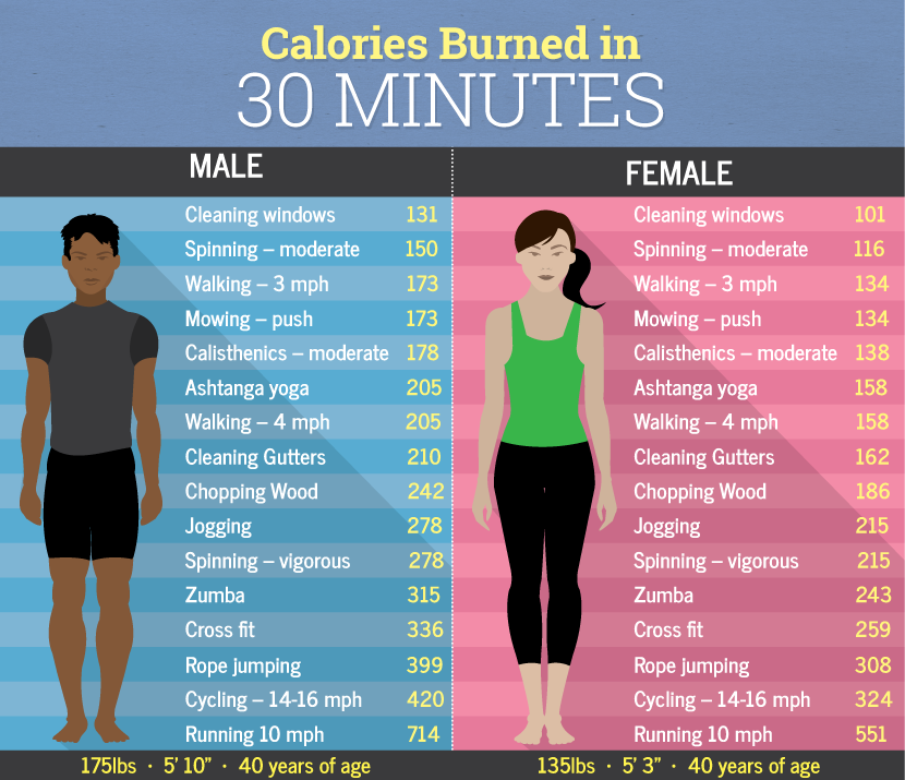 Calories Burned In 30 Minutes Male Vs Female