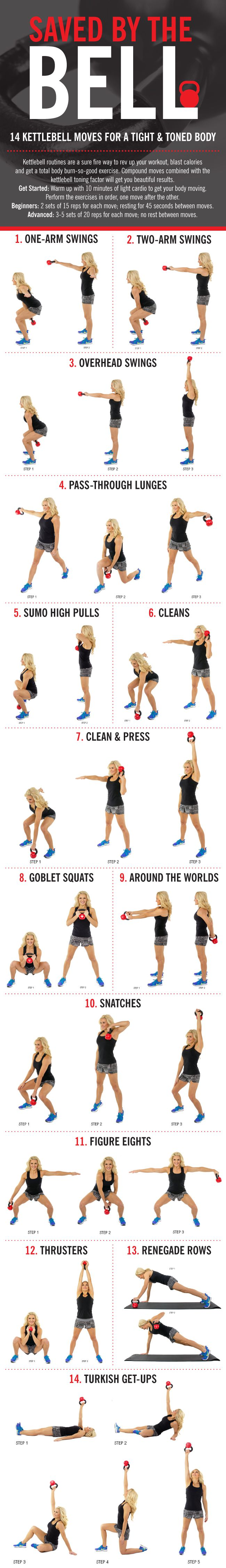 14 Kettlebell Moves Infographic