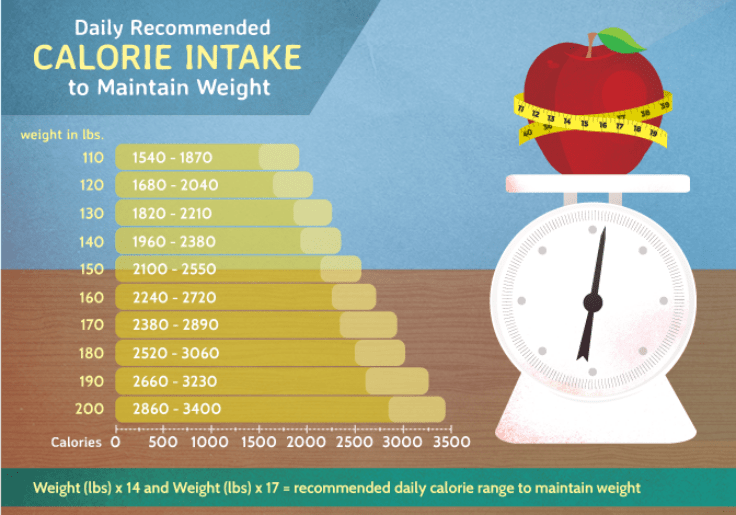Daily Recommended Calorie Intake To Maintain Weight