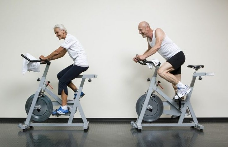 Old People on Exercise Bikes