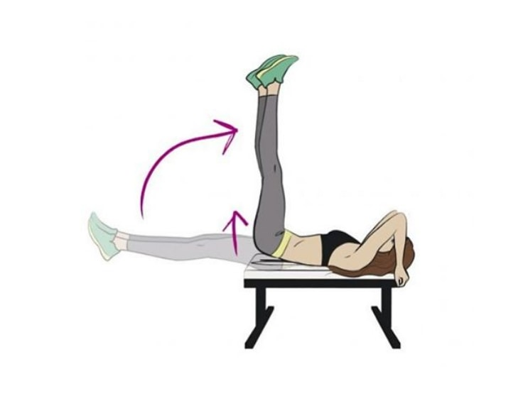 Abs Workout - Flat Bench Lying Leg Raise