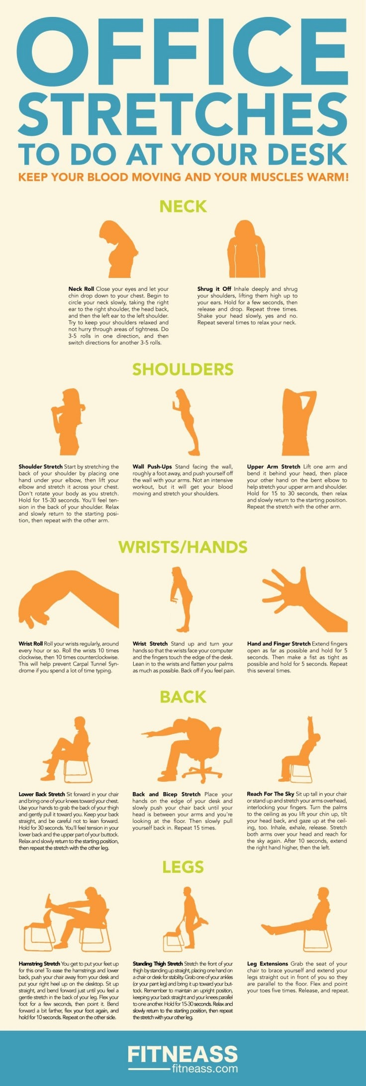 Easy Regular Stretching Exercises For Office Workers Infographic