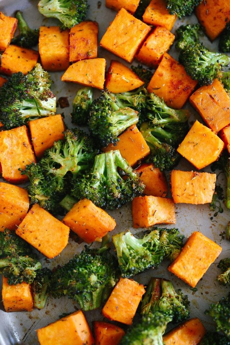 Roasted sweet potatoes and broccoli