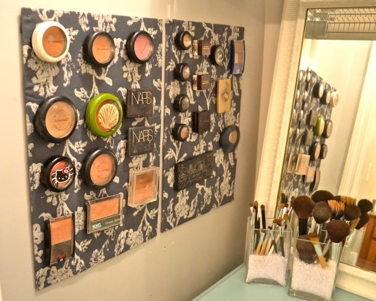 Makeup Organizer Ideas - Magnetic Board